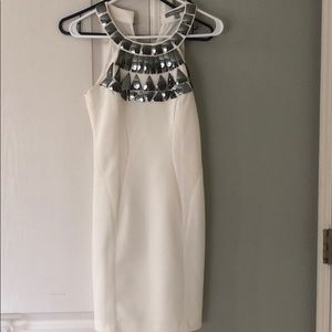 Wow couture white dress with silver appliqués